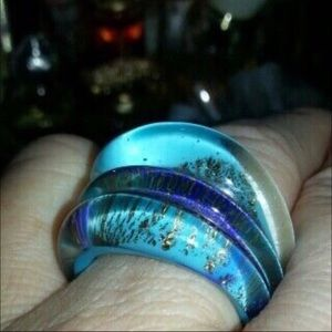 Blue & Gold Glass Ring